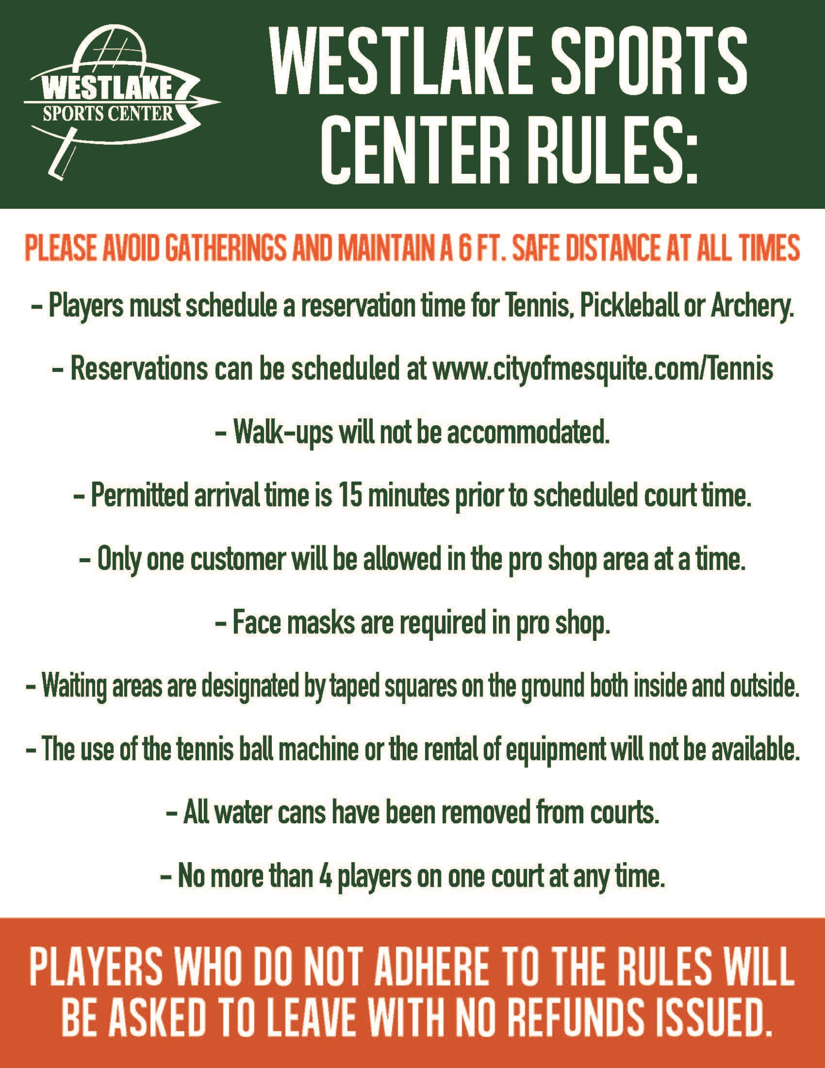 Westlake Sports Center Rules