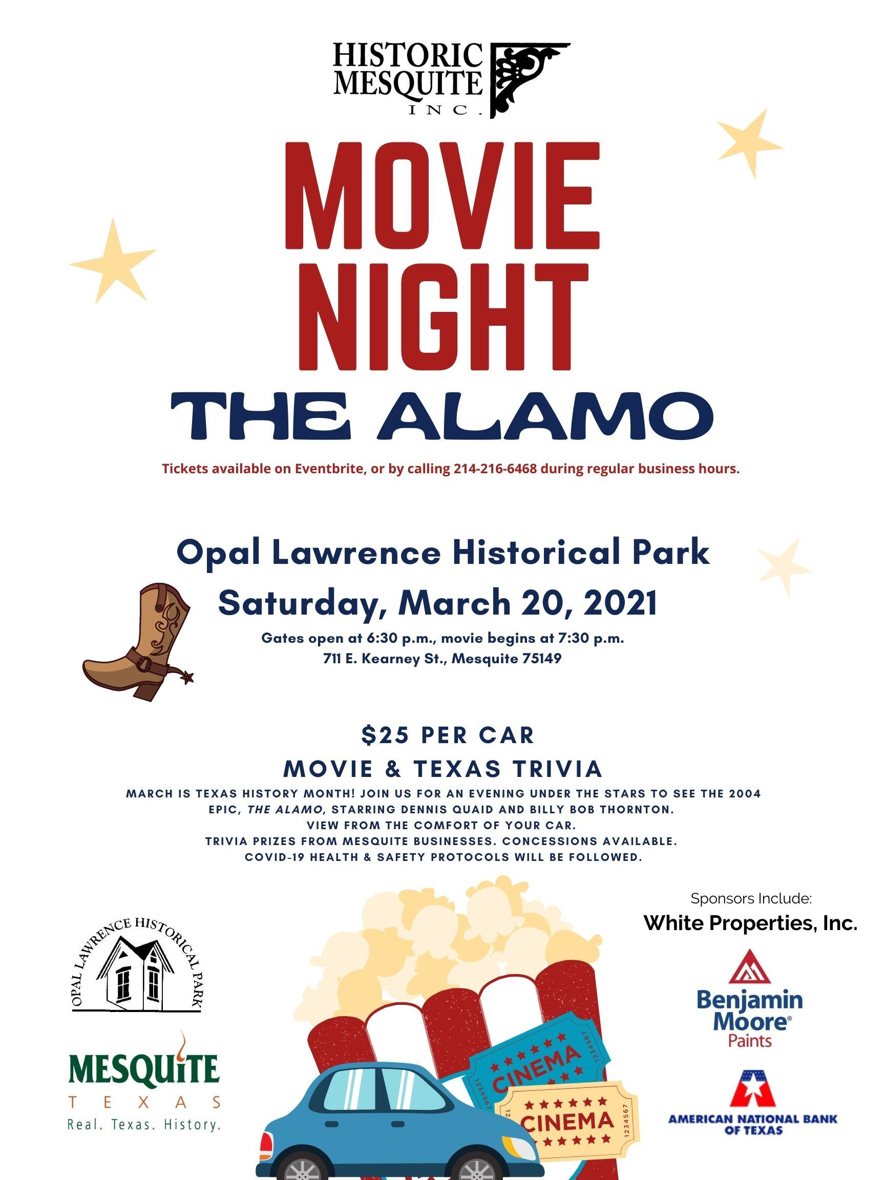 2021 March Movie Night Poster with Logos, clip art of car and popcorn, stars and boot