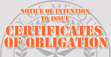 Notice of Intention to Issue Certificates of Obligation