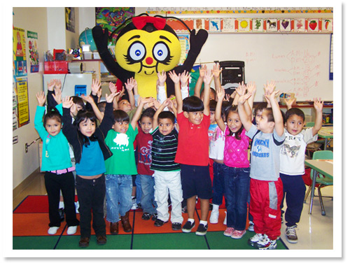 Classroom of children with Lucky the Ladybug