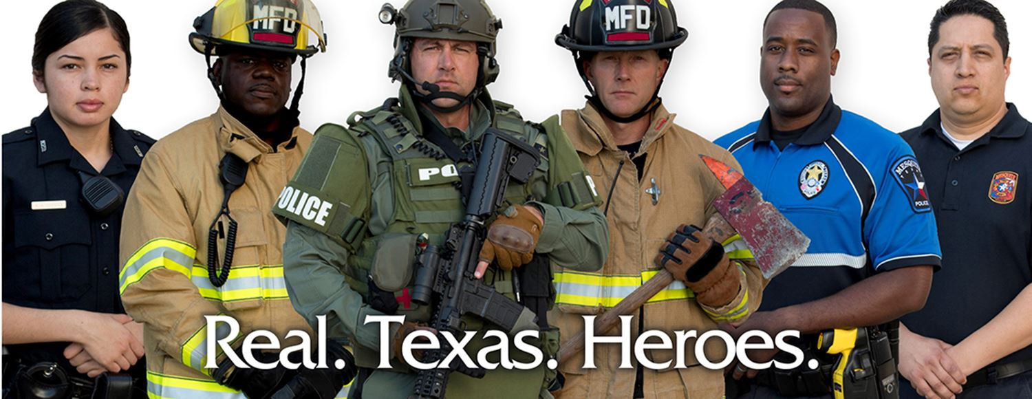 Real Texas Heroes billboard of police and fire staff
