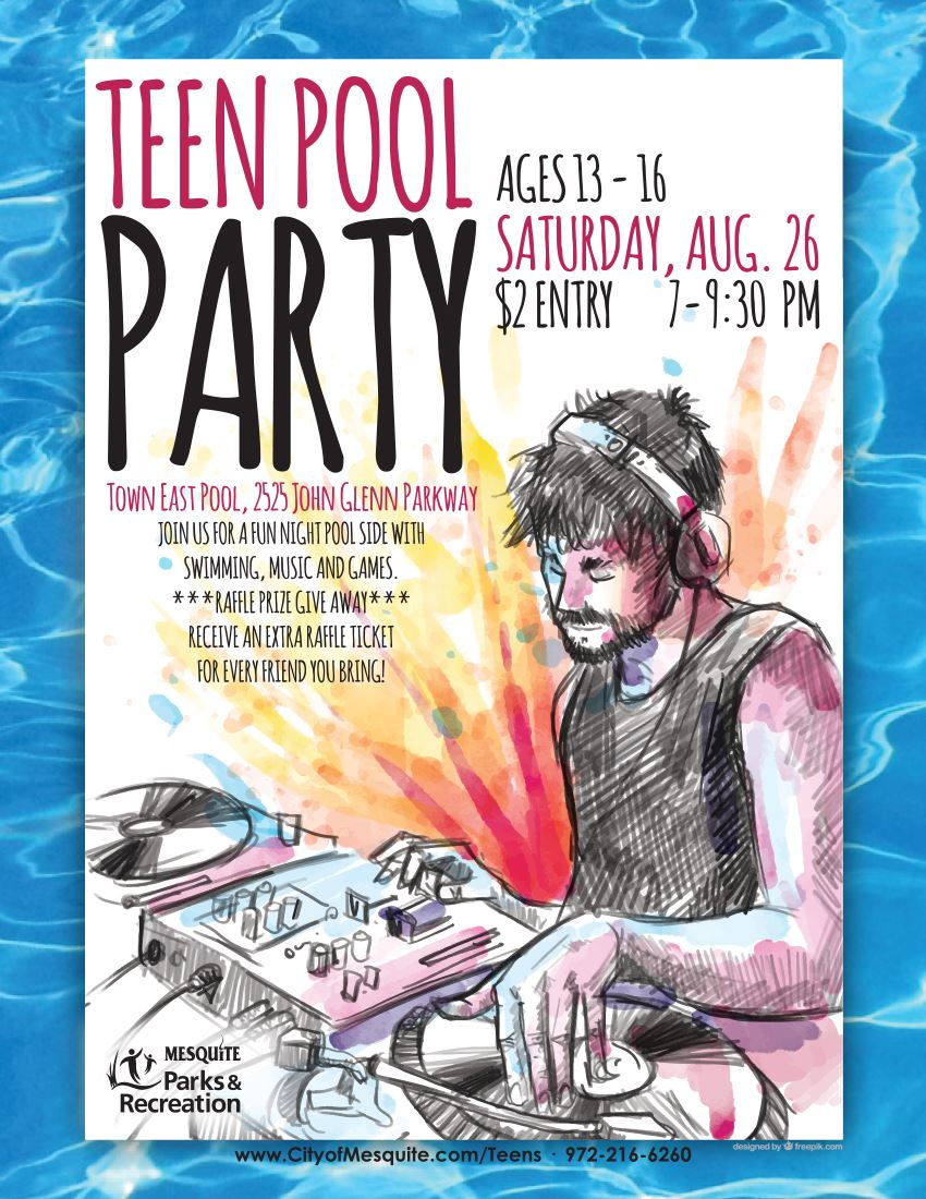 Teen Pool Party Flier