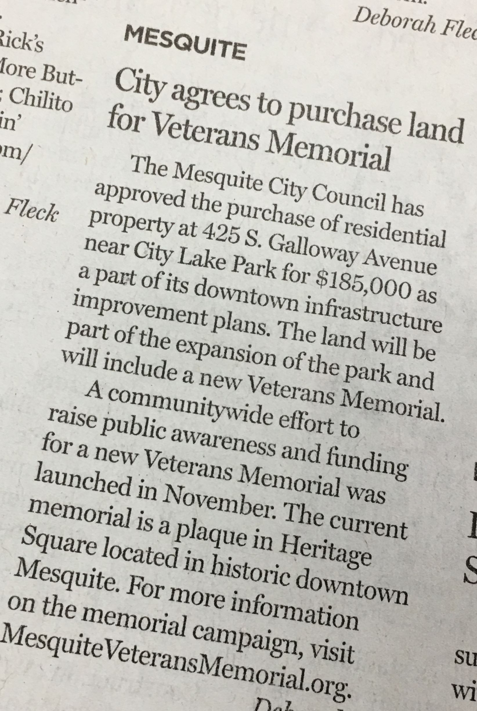 City buys land for Mesquite Veterans Memorial-cropped