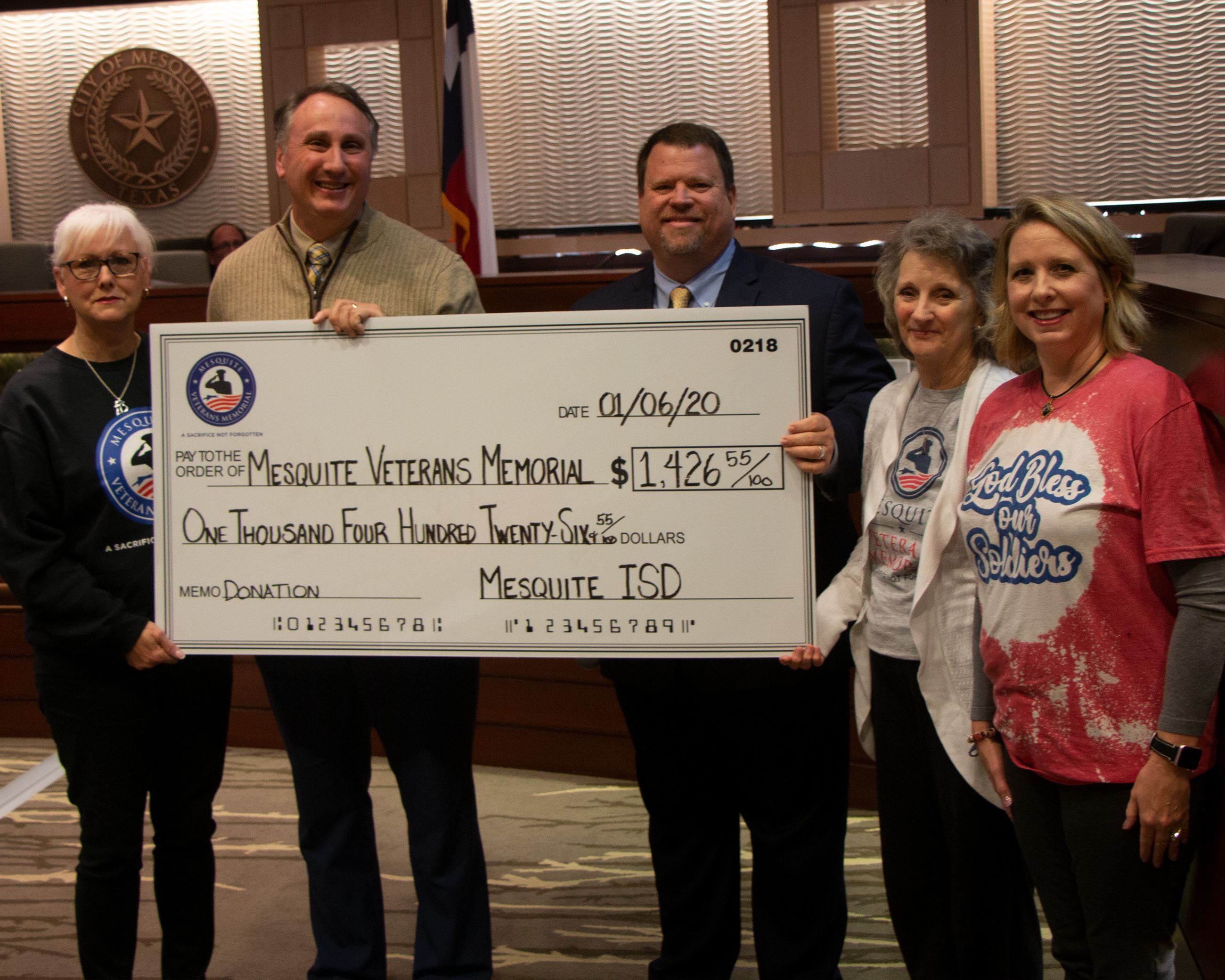 1-6-20 Council Photos - Mesquite ISD Donation to Veterans Memorial