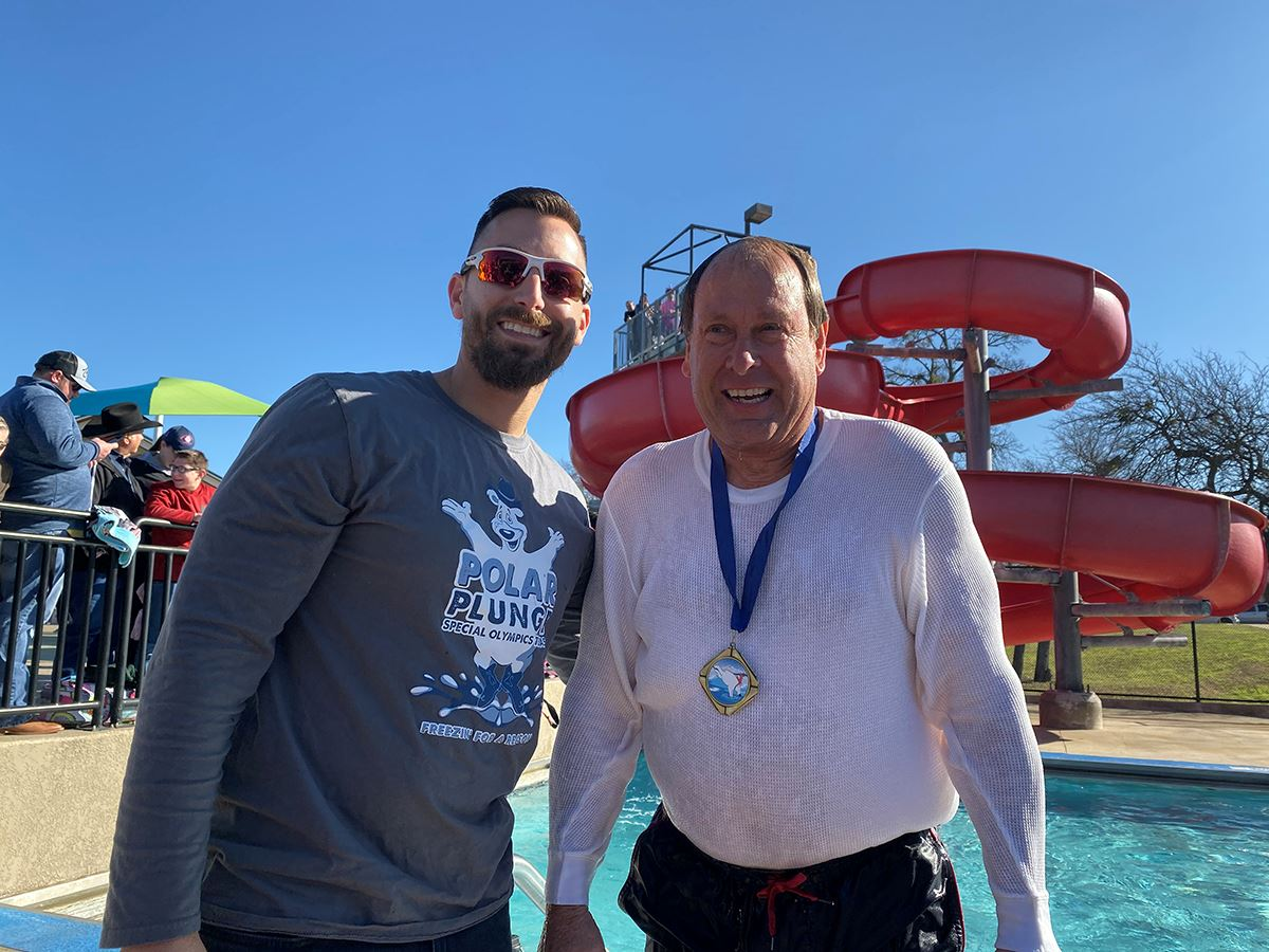 2020 Mesquite Polar Plunge - Councilmember Tandy Boroughs plunges and gets gold medal
