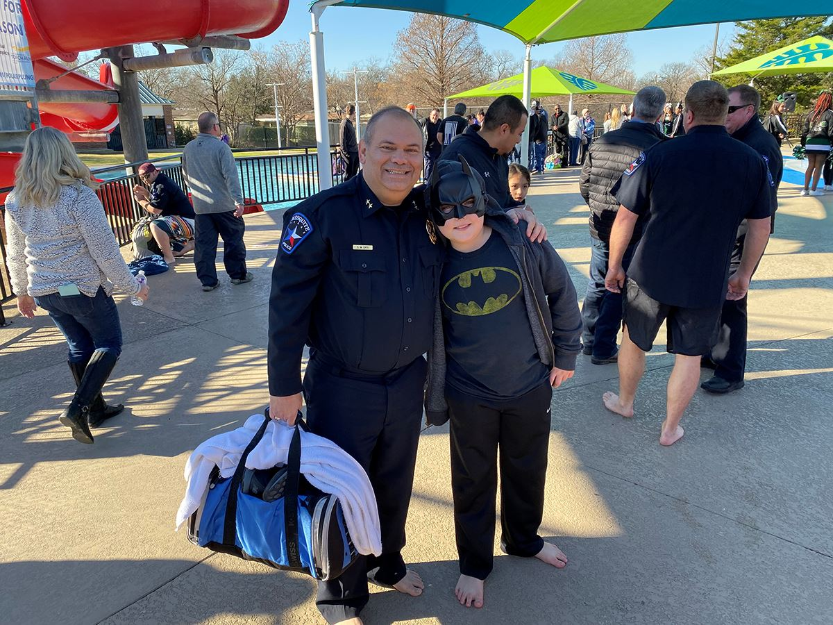 2020 Mesquite Polar Plunge - Mesquite Police Chief Charles Cato and The Dark Knight participant