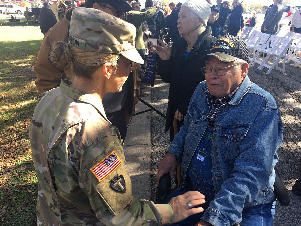 11-9-19 Mesquite Veterans Memorial groundbreaking - Current enlisted soldier speaks with military ve