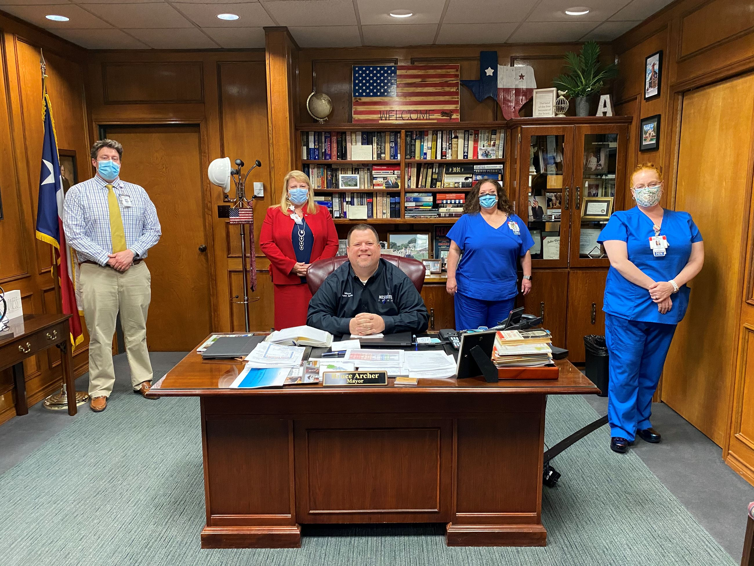 Mayor Bruce archer and DRMC staff during national hospital week