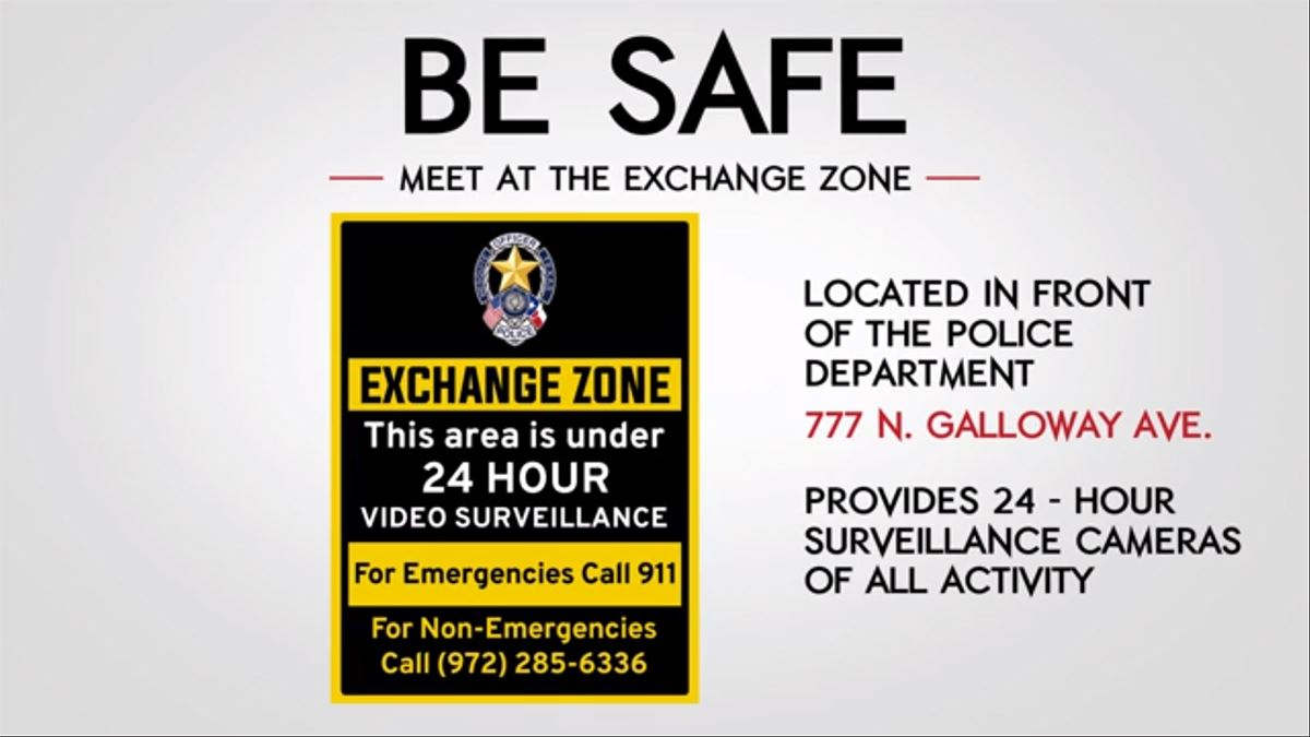 Mesquite Police Dept - Internet Thefts - Be Safe - Exchange Zone