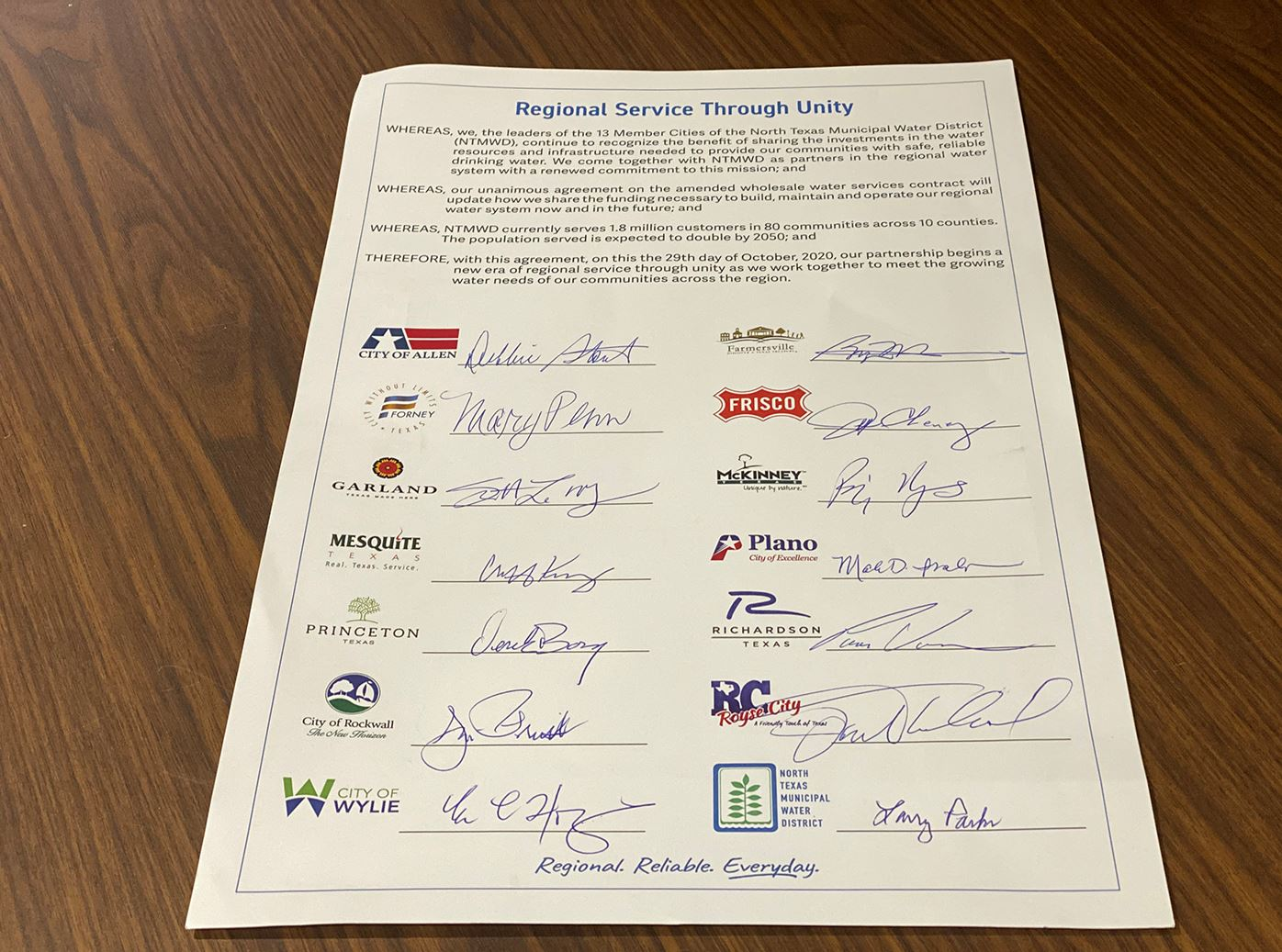 10-29-20 NTMWD Contract Signing - Proclamation - Mesquite TX