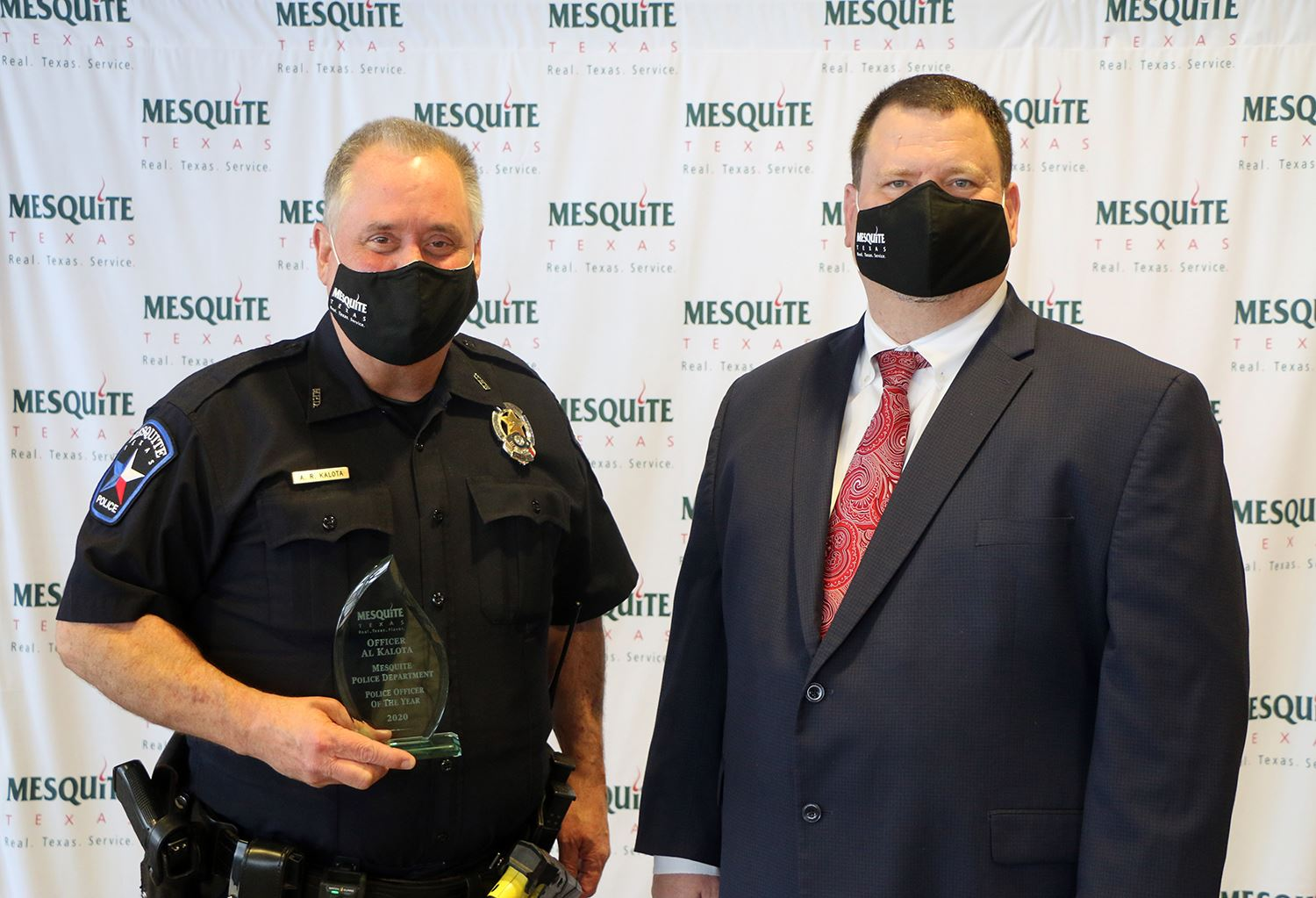 2020 Police Officer of the Year - Police Officer Al Kalota with Mayor Bruce Archer - Mesquite TX